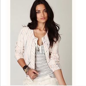 Free people cream striped thermal jacket size S